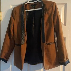 Faux Leather Detail Brown Fitted Blazer